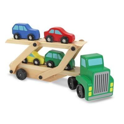 Houten autotransporter   met 4 raceauto's   Houten Auto oplegger   speelgoedauto