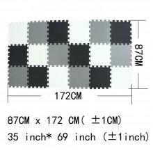 Puzzelmat met grijs, witte en zwarte tegels - 172 x 87 cm