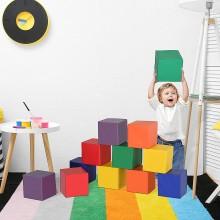 12 speelblokken - hoogwaardig foam - kunstleer - 20x20 cm