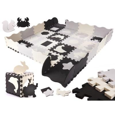 Puzzelmat met Zwart/Wit Met Dierentegels - Dikke tegels