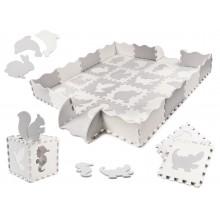 Puzzelmat met Grijs/Crème wit | Met Dierentegels - Dikke tegels