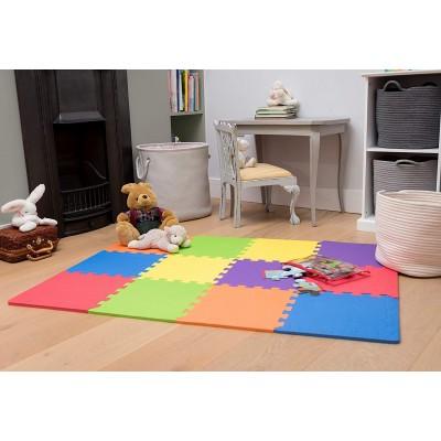 Puzzelmat met verschillende kleuren   Inclusief randen   120 x 90 cm