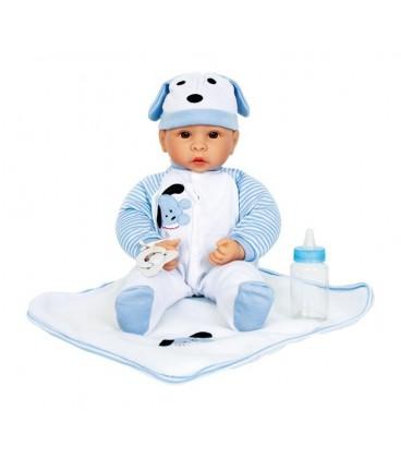 Babypop jongen blauw/wit met accessoires