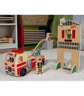 Melissa and Doug brandweerauto met huis