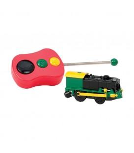 Draadloze locomotief voor houten treinbanen